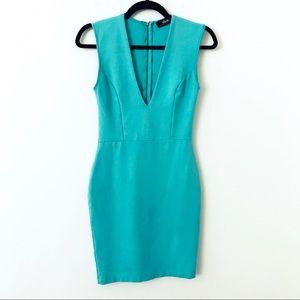 LULUS Mint Green Deep Plunge Bodycon Dress